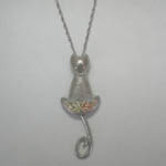 Black Hills Gold Sterling Silver cat with swinging tail necklace