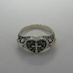 Black Hills Gold Sterling Silver cross in heart ring top view