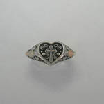 Black Hills Gold Sterling Silver cross in heart ring