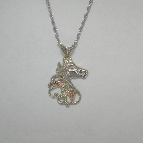 Black Hills Gold Sterling Silver horse head necklace