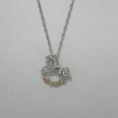 Black Hills Gold Sterling Silver small Rocking Horse necklace