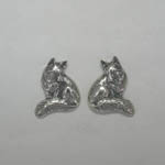 Sterling Silver seated fox post earrings