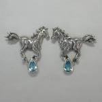 Sterling Silver galloping horse with Blue Topaz post earrings