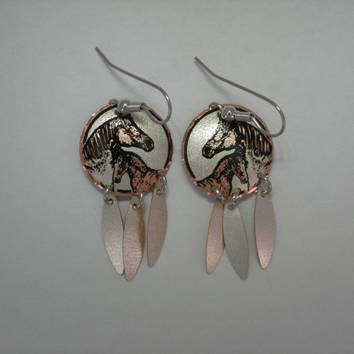 Copper mare and foal round earrings with feather dangles