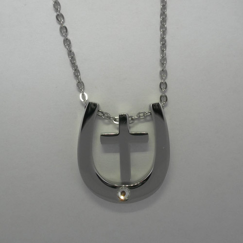Stainless Steel Cross inside Horse Shoe Necklace