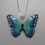 Sterling Silver Enamel Blue Morpho butterfly necklace
