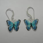 Sterling Silver Enamel Blue Morpho butterfly earrings