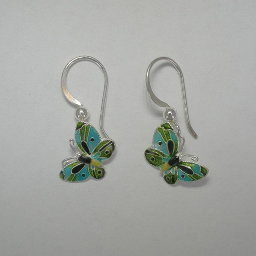 Sterling Silver Enamel small green butterfly earrings