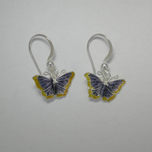 Sterling Silver enamel Nymphalis Antiopa butterfly earrings