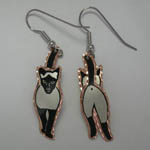 Copper painted Siamese cat walking dangle earrings