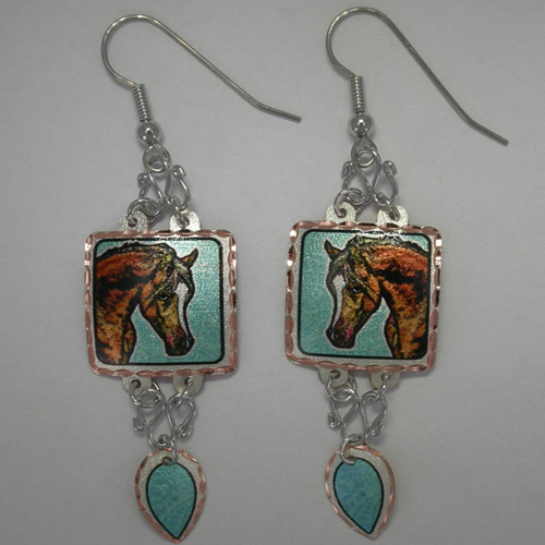 Copper painted Arabian dangle earrings