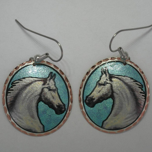 Copper painted white horse circular earrings