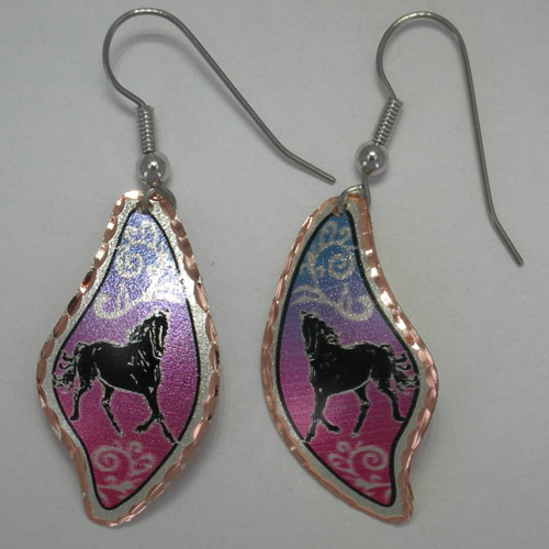 Copper abstract shaped black horse painted dangle earrings