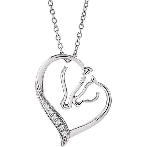 Sterling Silver mare and foal diamond necklace