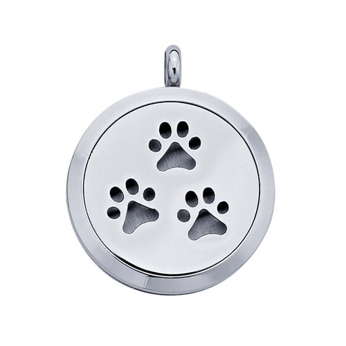 Stainless Steel Essential Oil pet feet diffuser necklace