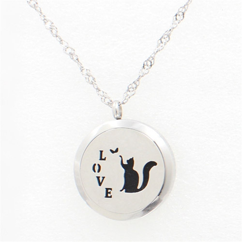 Stainless Steel Essential Oil LOVE cat and butterfly diffuser necklace