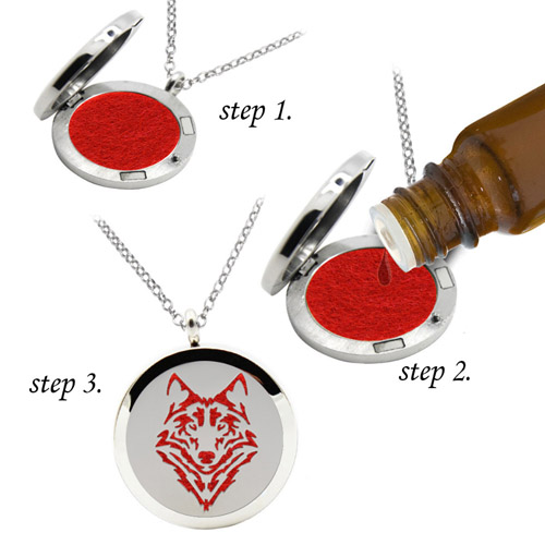 Stainless Steel Essential Oil wolf diffuser necklace