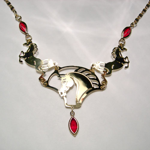 gold plated horse and red crystal necklace
