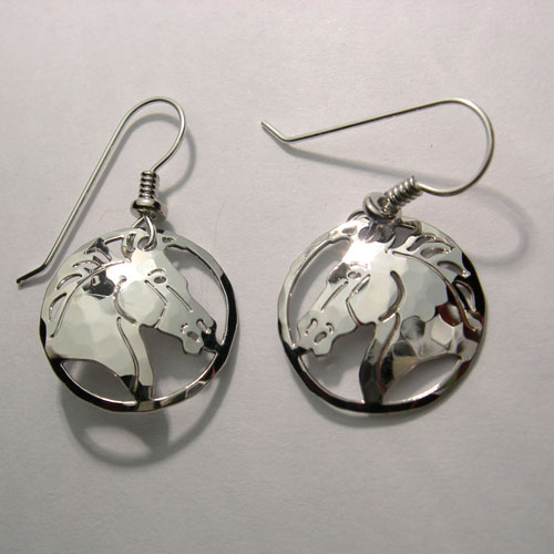 Rhodium plated horsehead dangle earrings