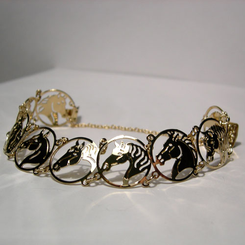 gold plated horse head bracelet