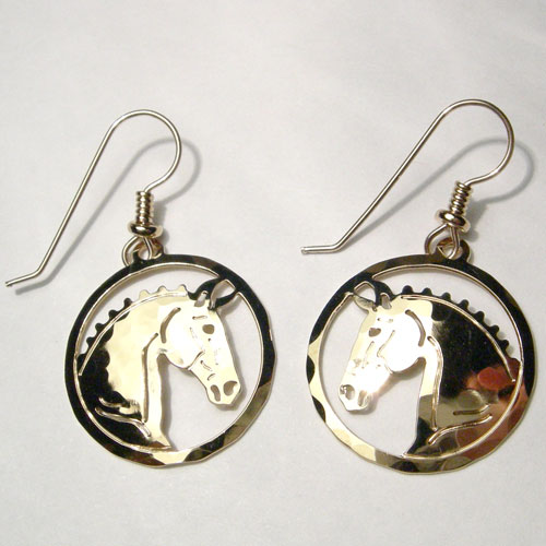 gold plated Dressage horse head dangle earrings