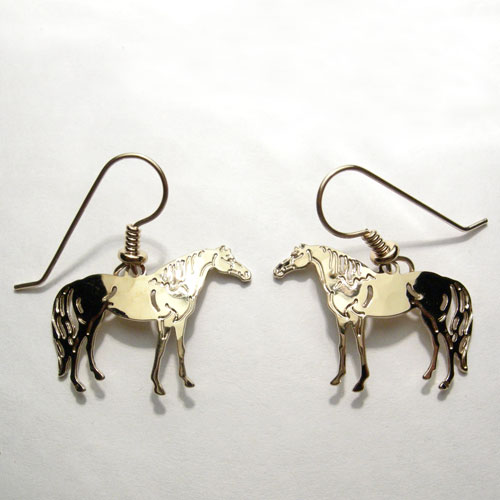gold plated Thoroughbred horse dangle earrings
