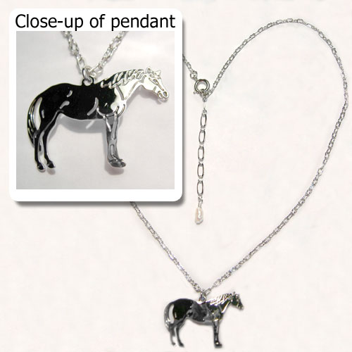 Rhodium plated Quarter Horse necklace