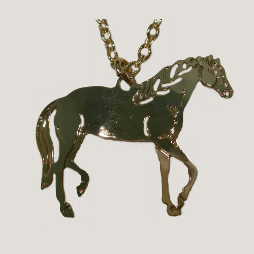 14 kt.y.g. plated Paso Fino Horse necklace