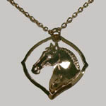 14 kt.y.g. plated horsehead inside pointed circle necklace