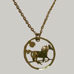 14 kt. y.g. plated galloping horse in moonlight necklace
