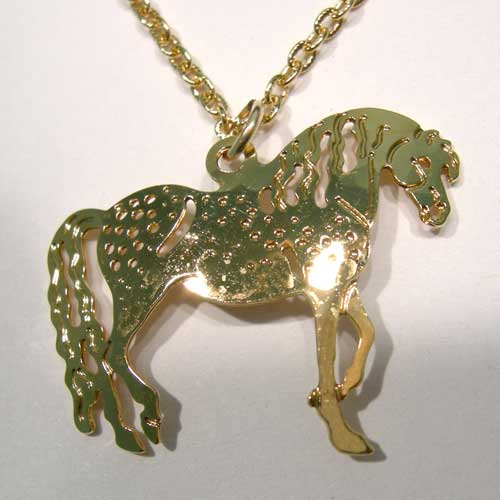 hammered gold Welsh Pony necklace