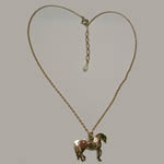 14 kt.y.g. plated Welsh Mountain Pony necklace full view