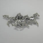 Sterling Silver three Arabian galloping horses brooch