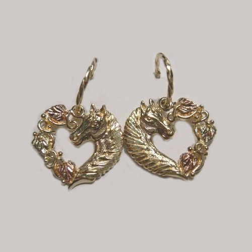 Black Hills Gold horsehead and heart dangle earrings