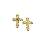 Black Hills Gold cross post earrings