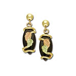 Black Hills Gold dangle earrings with Black Onyx