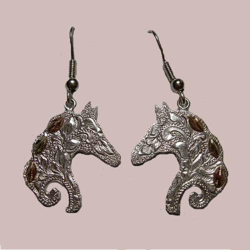 Landstoms Black Hills Gold Sterling Silver horsehead dangle earrings