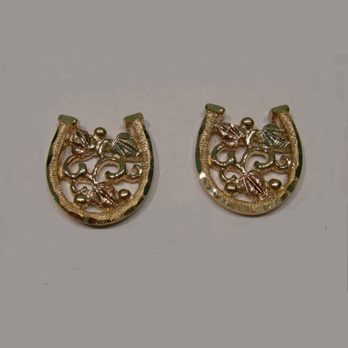 Landstrom's Black Hills Gold horseshoe post earrings
