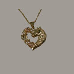 Landstrom's Black Hills Gold horsehead and heart necklace