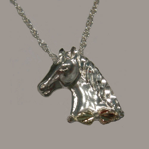 Landstrom's Black Hills Gold Sterling Silver horsehead necklace