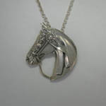 Sterling Silver show horse head with show ribbon necklace