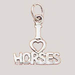 Sterling Silver I love Horses charm/pendant