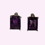14 kt.w.g. emerald cut amethyst and diamond earrings