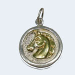 Sterling Silver gold horsehead inside circular frame pendant