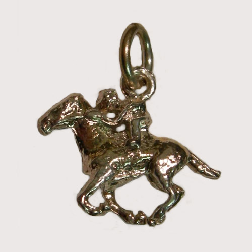 Sterling Silver small Thoroughbred racehorse and jockey charm/pendant