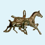 14 kt.y.g. trotting mare and foal pendant