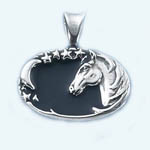 Sterling Silver horsehead with moon and stars pendant