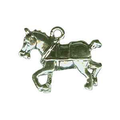 Sterling Silver harnessed draft horse charm/pendant