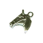 Sterling Silver 3 D horsehead in bridle other side charm/pendant