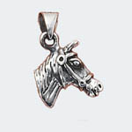 Sterling Silver 3 D horsehead in bridle charm/pendant